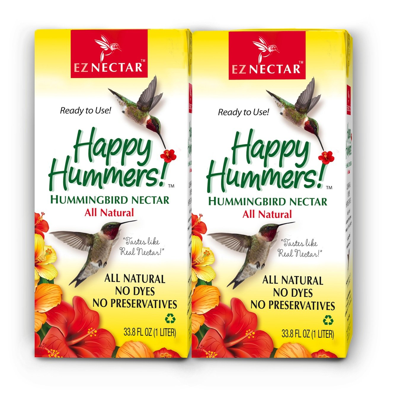 EZNectar - The Only Ready-to-Use Hummingbird Nectar''Exactly Like Flower Nectar.'' Patented, Preservative & Dye Free, Hummingbird Food - Nectar (2 Piece) 67.6 FL OZ TOTAL