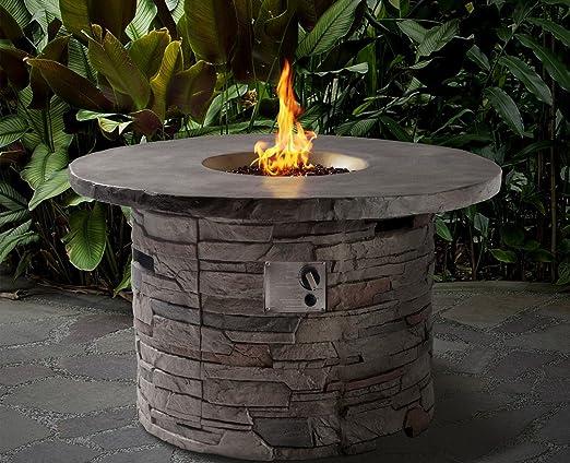 Sandbanks Fibra de vidrio redonda estufa de gas en piedra natural al aire libre muebles de jardín: Amazon.es: Jardín