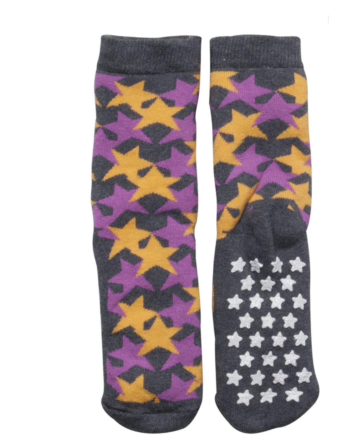SLIPPER NON SKID SOCKS | KIDS ANTI SLIP COTTON SOCKS WITH STARS | ITALIAN HOSIERY | (USA: 7/11 = EU: 24/28, FUXIA) by CALZITALY (Image #3)