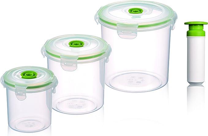 Vacuumsaver FLS6 Set de Tuppers al Vacío Redondos, Transparente y Verde, 31x59x47 cm, 3 Unidades: Amazon.es: Hogar