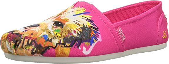 Skechers BOBS Women's BOBS Plush-Breeds Ballet Flat, Fuchsia - Big Smooch, 7 M US