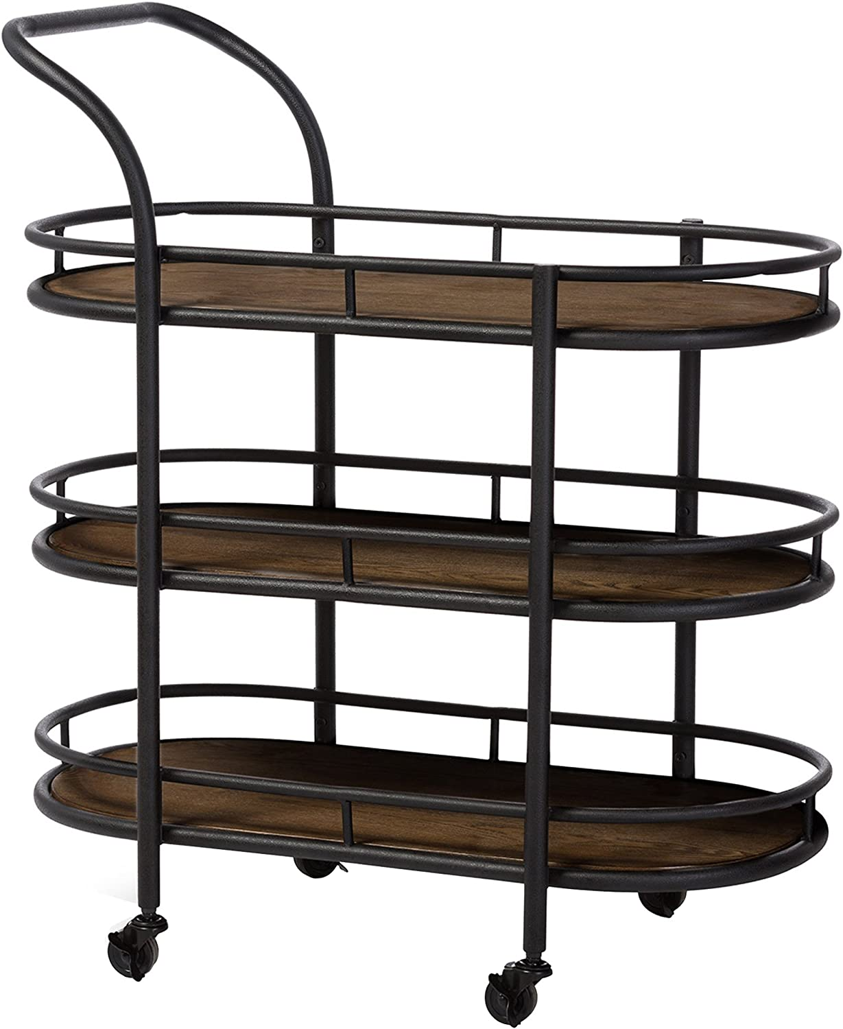 Baxton Studio Karlin Rustic Industrial Style Antique Textured Metal Distressed Wood Mobile Kitchen Bar Serving Wine Cart, Black