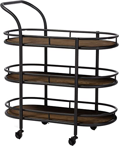 Baxton Studio Karlin Rustic Industrial Style Antique Textured Metal Distressed Wood Mobile Kitchen Bar Serving Wine Cart