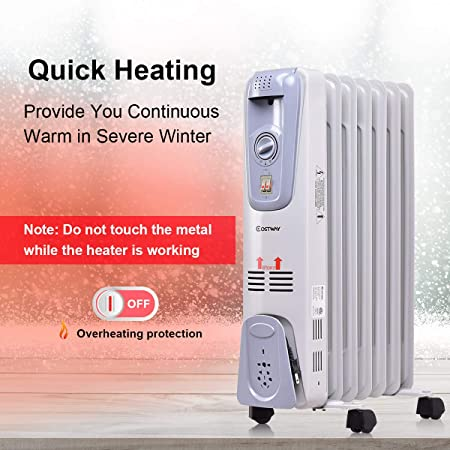COSTWAY Oil Filled Radiator Heater Portable Electric Home Room Heat Adjustable Thermostat 1500w 25 Height