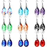 9 Pairs Multicolor Dangle Earrings Set Crystal Dangle Earrings Rainbow Crystal Earrings for Women Valentine's Day