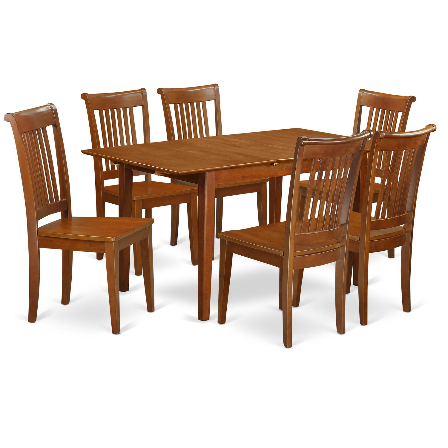 PSPO7-SBR-W 7 Pc set Rectangular Kitchen Table having 12 Leaf and 6 Wood Dinette Chairs in Saddle Brown