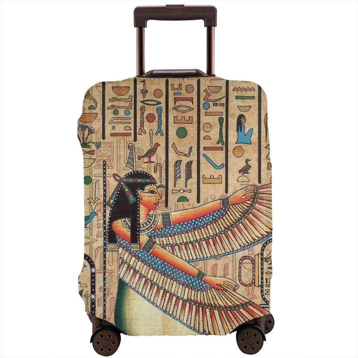 Protector de Maleta de Pintura de papiro Egipcio Antiguo Cubierta de Equipaje de Viaje elástica Cubiertas de Equipaje a Prueba de Lluvia con impresión Delicada