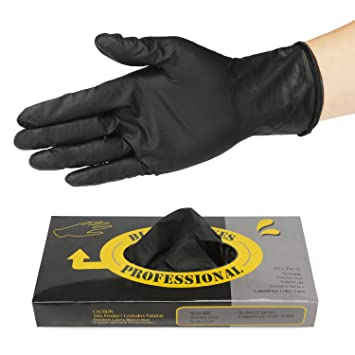 20 Counts Hair Dye Gloves, Segbeauty Black Reusable Rubber Gloves,  Professional Hair Coloring...