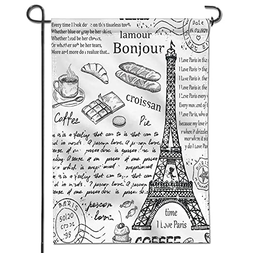 Mikihome - Bandera de jardín con diseño de Torre Eiffel y ...