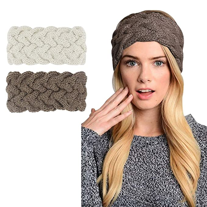 Womens Winter Knitted Headband - Crochet Twist Hair Band Turban Headwrap Hat Cap Einter headband Ear Warmer,2 Pack,Beige+khaki, One size best winter headbands