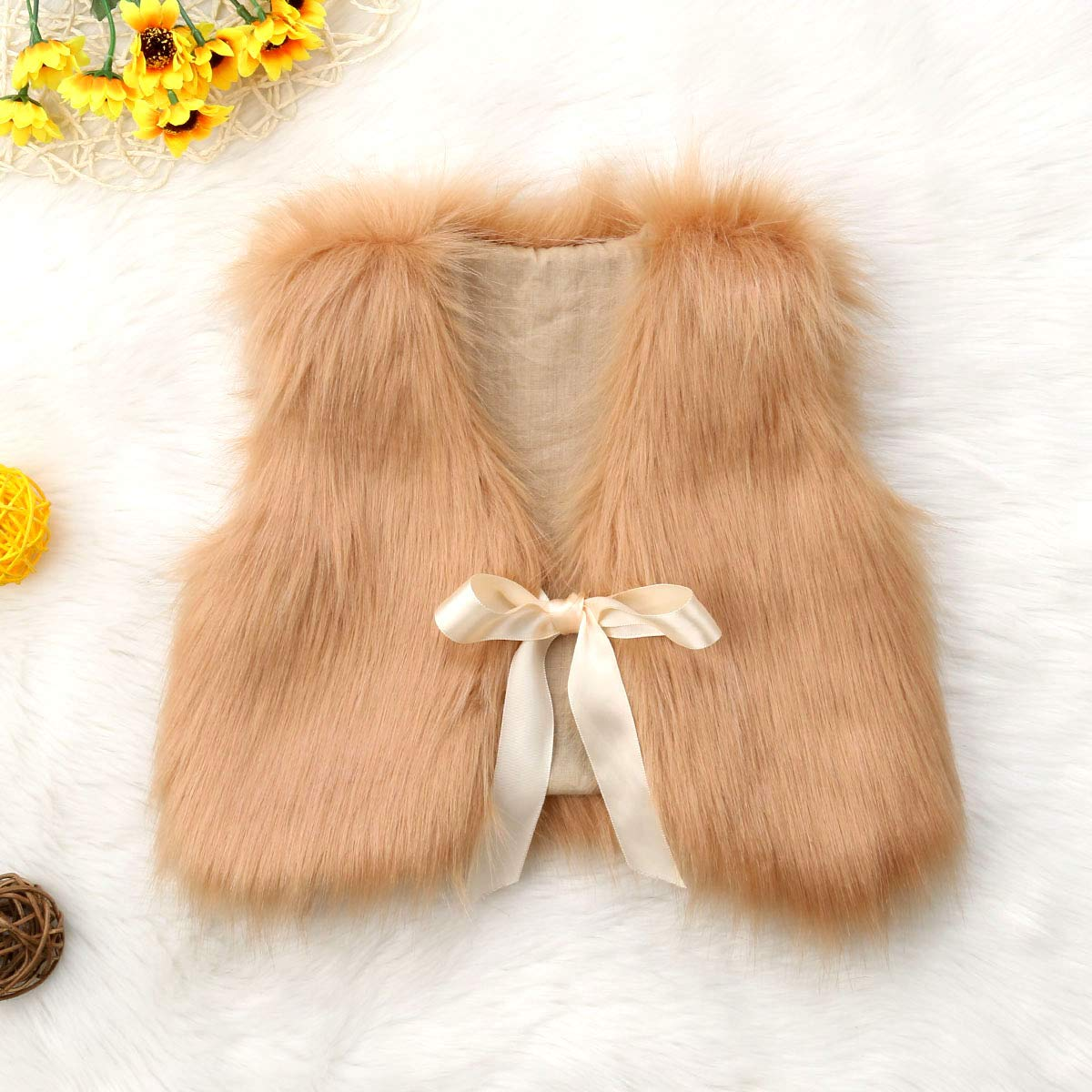 XBRECO Toddler Girl Faux Fur Vest Coat Winter Warm Waistcoat Outerwear