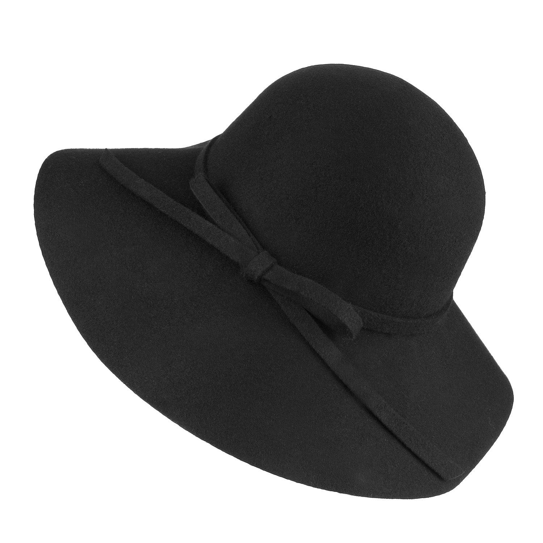 297f3439395996 Choomon Women Vintage 100% Wool Foldable Fedora Bowler Hat Wide Brim Floppy  Cap