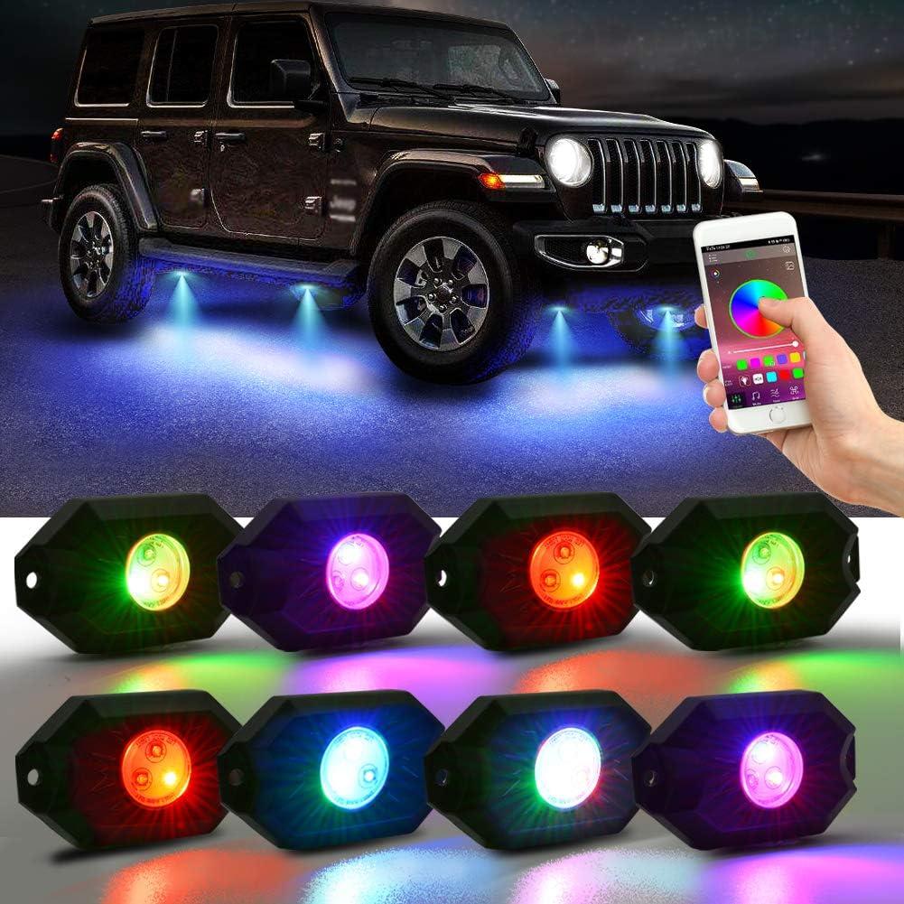 Lncboc Car Underglow Light Underglow Lighting Kit 4Pcs RGB Underglow Atmosphere Underbody Decorative Bar Lights with Sound Active,Wireless Remote Control App Control Atmosphere Lights