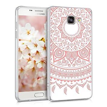 kwmobile Funda para Samsung Galaxy A5 (2016) - Carcasa de TPU para móvil y diseño de Sol hindú en Rosa Claro/Blanco