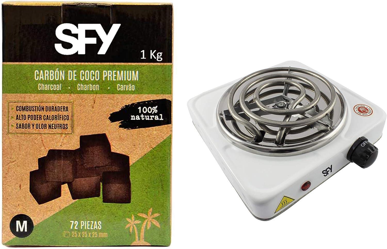 SFY Hornillo eléctrico para Shisha para Encendido de carbón Natural de Coco - Placa de Fuego para cocinar - 1000W - Carbón Natural de Coco