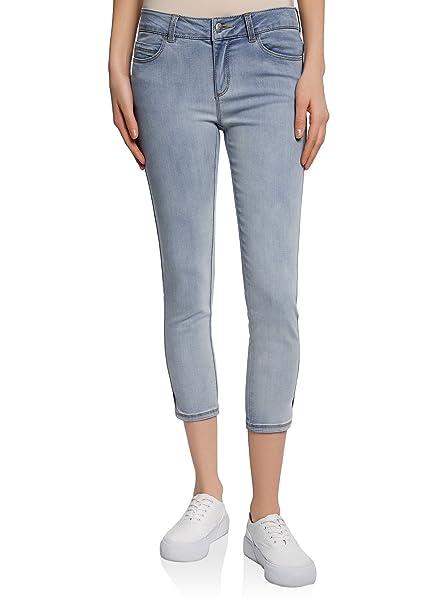 pretty nice f5065 3952b oodji Ultra Donna Pantaloni a Pinocchietto in Jeans Effetto Invecchiato