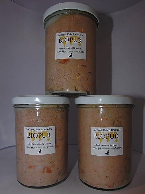 biopur – Pollo, Arroz y zanahoria 400 gr. Juego 3 unidades)