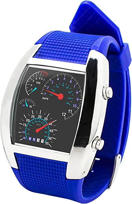 Fun and Play MO.01.0022.03-Reloj LED Unisex, Color Azul