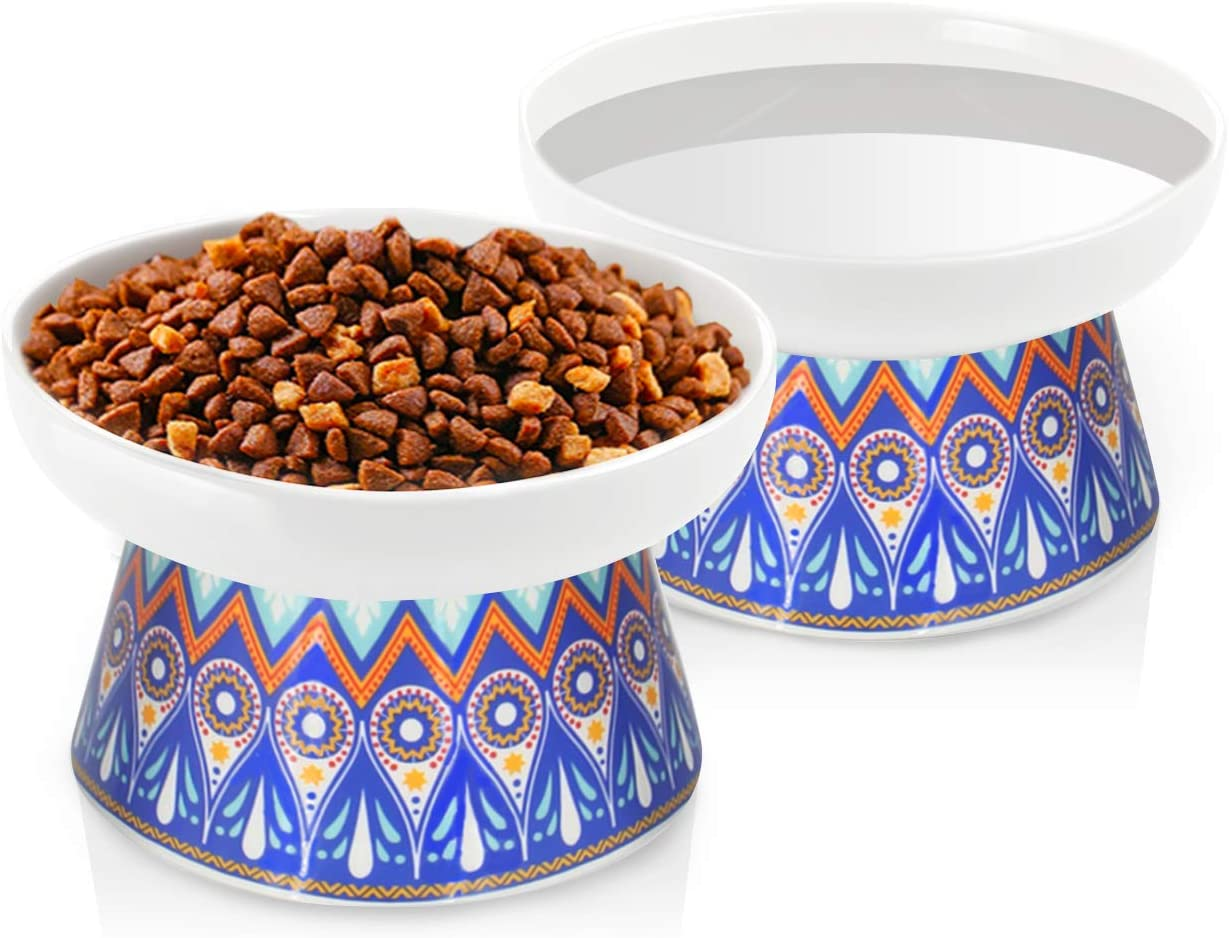 Frewinky Cat Bowls,Elevated Cat-Bowls Anti Vomiting,Ceramic cat Dishes,Raised Cat Food and Water Bowl Set for Flat Faced Cats and Small Dogs,12 Oz
