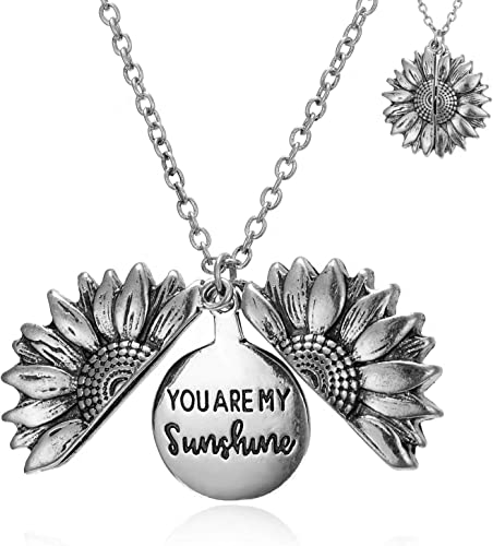 Sunflower Necklace You are My Sunshine Inspirational Locket Necklace for Girls Women Boys