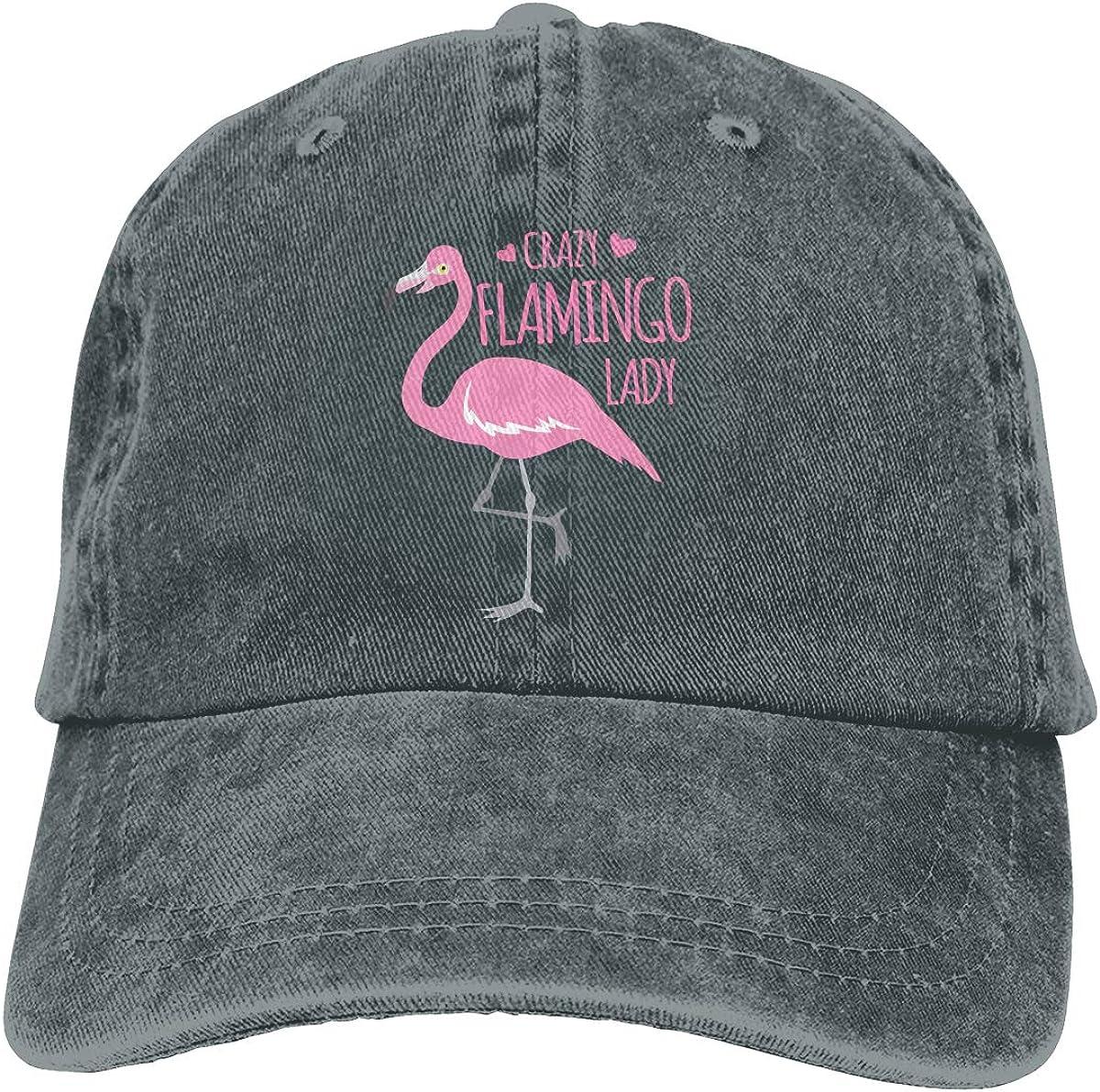 Crazy Flamingo Lady Popular Unisex Washed Cap Adjustable Dads Denim Stetson Hat