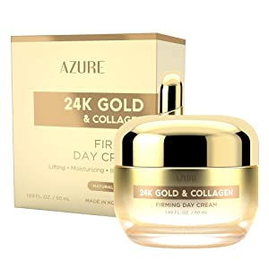 AZURE 24K Gold & Collagen Firming Day Cream - Moisturizing, Illuminating & Lifting | Reduces Wrinkles & Fine Lines | Anti Aging & Toning | Made in Korea - 50mL