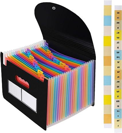 Uquelic Carpeta de Archivos Expandible Port/á Multicolor Carpeta de Archivos 13 Bolsillos Acorde/ón Porta Documentos para Recibos