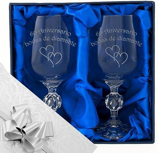 60 aniversario de bodas de diamantes, un par de copas de vino en una caja de presentación. Grabado profesionalmente. papel de regalo y cinta de calidad del 60 aniversario. regalo presente: Amazon.es: