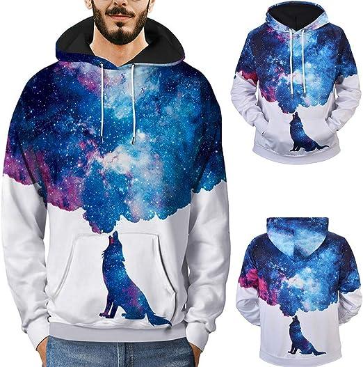 Unisex Galaxy Animal Graphic 3D Print Long Sleeve Sweatshirt Coat Jacket Hoodies