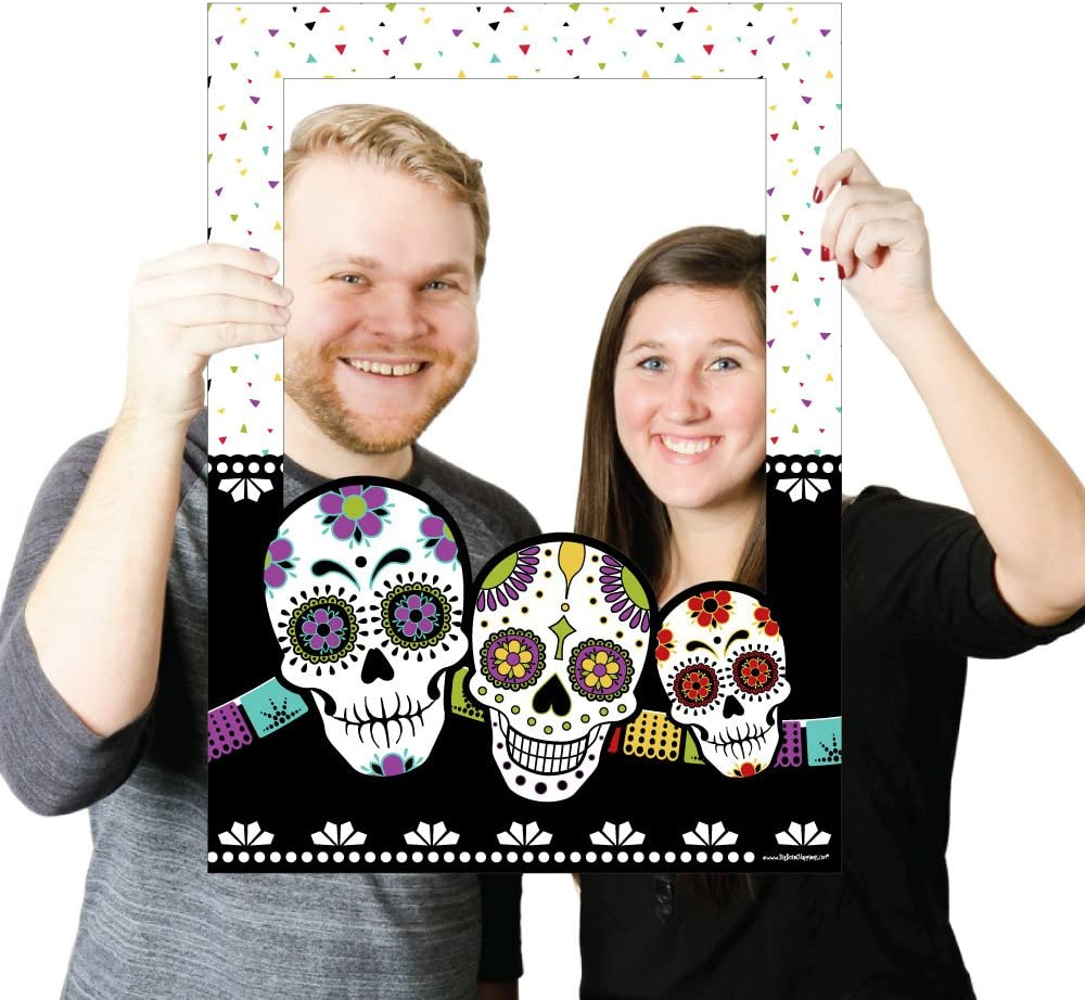 Selfie Photo Booth Props Set of 14 Day of The Dead Halloween Party Paddle Photo Booth Props