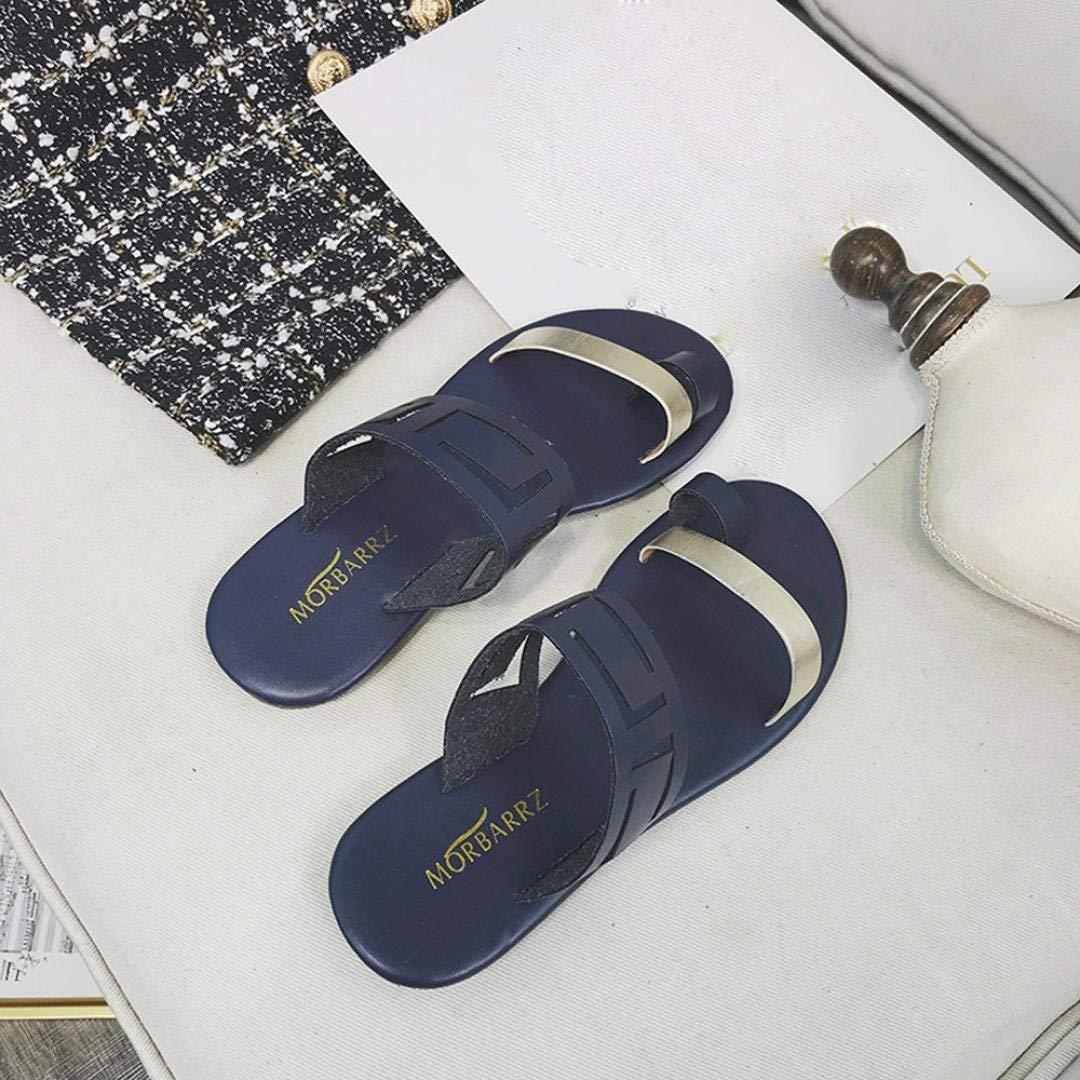 ZHRUI Liquidación Sandalias para mujer, zapatos de sandalias con cuña hueca para el verano de las señoras Zapatillas de punta de clip casuales Moda Round ...