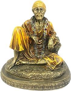 "Sri Krishna Culture Sitting Sai Baba Murti/Idol (Antique Finish)(Height-7.5"") - Hindu God and Goddess Idol/Statue/Murti/Figurine-Polyster Resin-Multicolour"