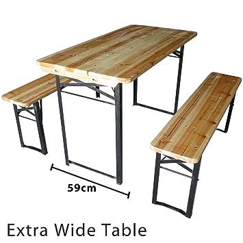 marko outdoor wooden folding beer table bench set outdoor garden