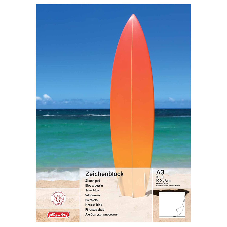 Herlitz Zeichenblock A3, holzfreies Papier, 100 g/m², 2-er Packung, weiß 100 g/m² weiß Herlitz Group 452326