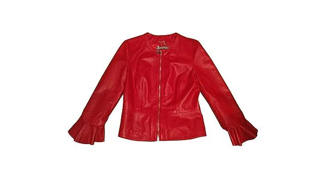 factory authentic e9fd5 71f7c Sandro Ferrone giacca rossa, giubbino in vera pelle nappa ...