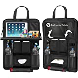 "Back Seat Car Organizer, Car Organizer for Kids Toy Bottles Storage Foldable Dining Table 9.7"" Tablet Holder Family Road Trip Accessories (Black 1PC)"
