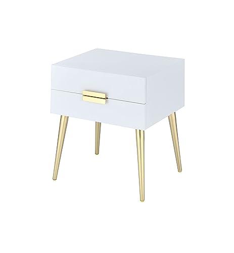 ACME Furniture 84496 Denvor End Table, White Gold