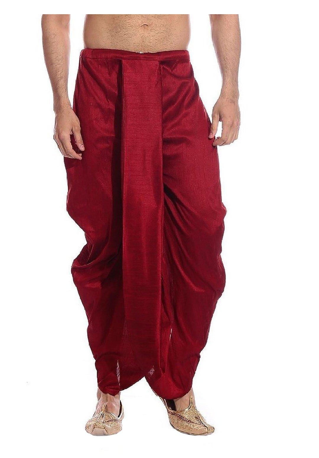 Royal Kurta Men's Art Silk Fine Quality Ready To Wear Dhoti pants Free Size Red