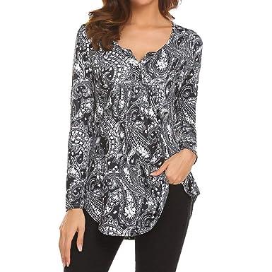 Hevoiok Langarmshirt Damen Fashion Sexy Blumen V-Ausschnitt Top T-Shirt  Blusentop Fraun Lange c730853b54