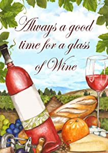 "Toland Home Garden 1112440 Wine Time 12.5 x 18 Inch Decorative, Garden Flag (12.5"" x 18"")"