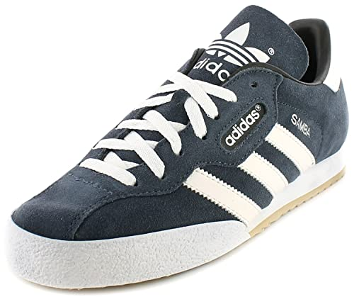 Adidas Samba Super Suede Leather Indoor Soccer Shoes Trainers - Navy Suede/ White - UK