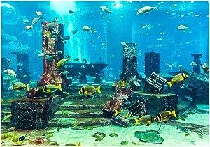 Undersea City Ruins Aquarium Poster, PVC Coral Aquarium Background Underwater Poster Fish Tank Wall Decorations Sticker
