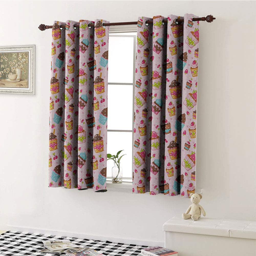 Mozenou Pink, Window Curtain Fabric, Decorations for Kitchen Cupcakes Muffins Strawberries and Cherries Print, Drapes for Living Room W72 x L63 Inch Light Pink and Brown by Mozenou