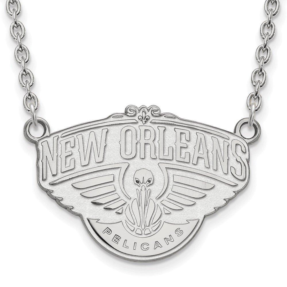 NBA New Orleans Pelicans Largeペンダントネックレスロジウムメッキスターリングシルバー – 18インチ   B01LZ2NLGX