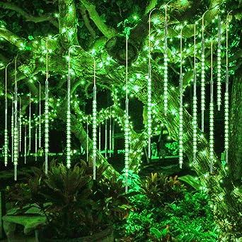 DINOWIN Meteoros Lluvia Luces,360LEDs Tubo de Luces Solar Luces Jardín Impermeable Guirnalda de Luzs,Cadena para Fiesta de Boda de Decoración del árbol de Navidad (Verde): Amazon.es: Iluminación