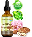 ORGANIC SWEET ALMOND OIL 100% Pure / Virgin / Unrefined Cold Pressed Carrier Oil. 1 oz-30 ml. For Face, Hair and Body.