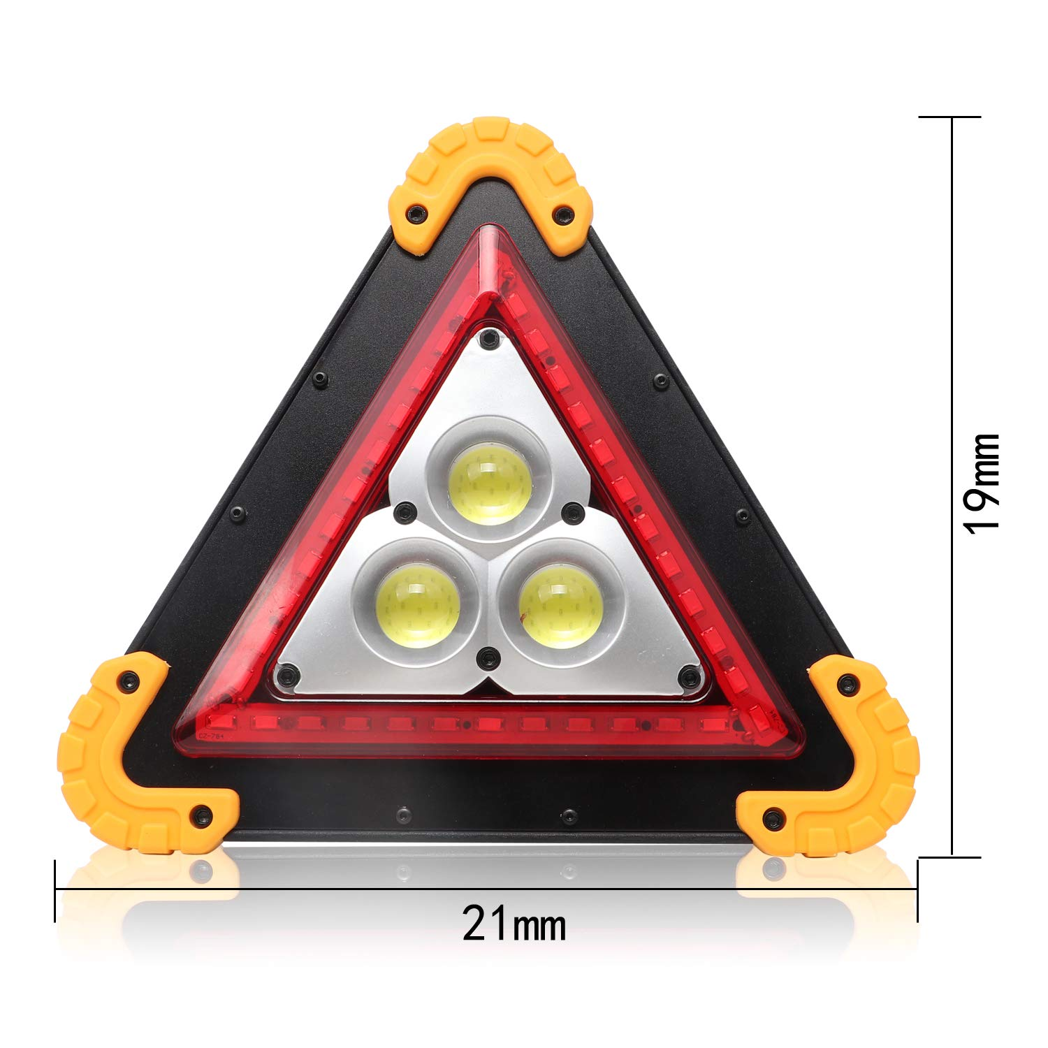 Huini Triangles Emergency Light Car Breakdown Assistance LED Warning Light 4 Modes USB Rechargeable Power Bank Function Waterproof for Emergency,Car repairing,Camping,Hiking,Fishing,