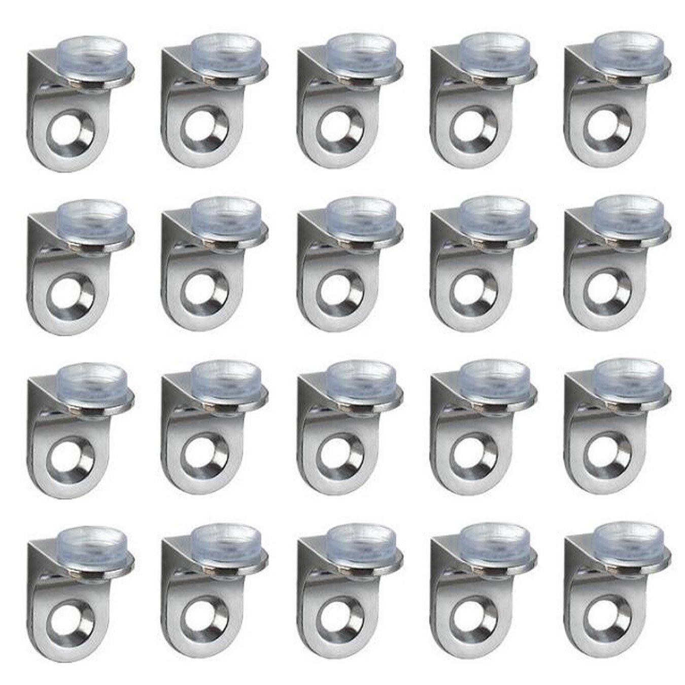 UOOOM 20 pcs Right Angle Fixing Clip Shelf Bracket Suction Cup Base Glass Shelve Support