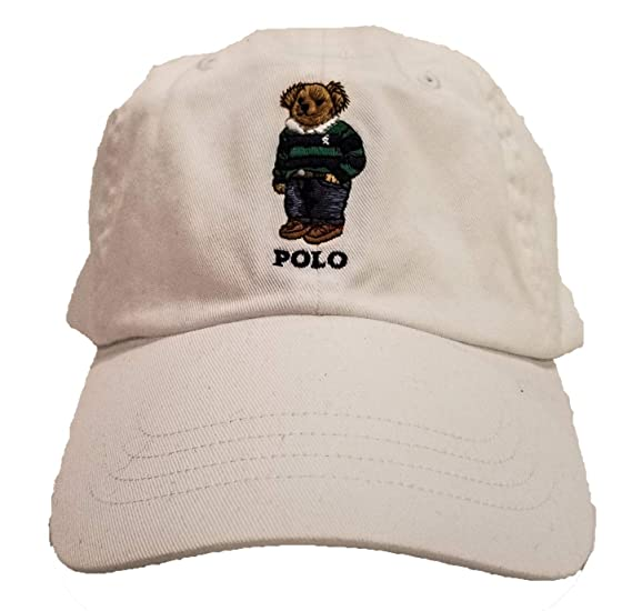 3fb682a450a77 Ralph Lauren Polo Mens Teddy Bear Adjustable Ball Cap Hat - White - One Size
