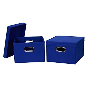 Beautiful Household Essentials 10KDSB Collapsible Fabric Storage Box With Lid, 2  Pack, Blue